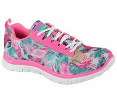 e36aea34 Tropic style meets extreme comfort in the SKECHERS Flex Appeal - Floral  Bloom shoe. Skech-Knit Mesh fabric upper in a lace up sporty training  sneaker with ...