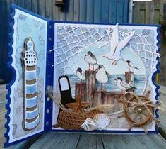 Creaties van Hetty: zon, zee en strand Beach Scrapbook Layouts, Mini Scrapbook Albums, Mini Albums, Ticket Card, Altered Canvas, Nautical Cards, Beach Cards, Origami, Up Book