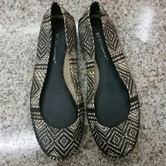 BCBGeneration woven flats Black and tan woven flats in perfect condition BCBGeneration Shoes Flats & Loafers