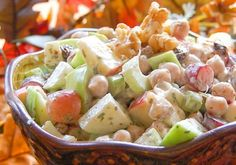 The addition of chickpeas, tart cranberries and a seasoned mayonnaise make this waldorf salad even more delectable.