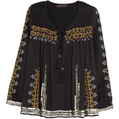 Kate Moss for Topshop Sequined embroidered voile top (245 BRL) ❤ liked on Polyvore featuring tops, blouses, shirts, black, long sleeved, long sleeve sequin top, lace up top, embroidery shirts, shirt blouse and lace up blouse