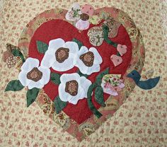 Vintage Valentine block made by Janet Beyea by Janet BA Shabby Fabrics, Vintage Valentines, Applique Designs, Quilt Making, Quilt Blocks, Quilt Patterns, Embellishments, Projects To Try, Embroidery