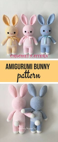 Amigurumi bunny pattern -- these sweet bunnies can be made in any color and are a perfect project for Easter! #amigurumitoy #Easterbunny #crochetpattern #ad