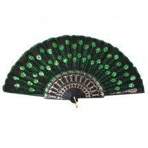 Vintage Sequin Embroidered Hand Fan - Green/Black