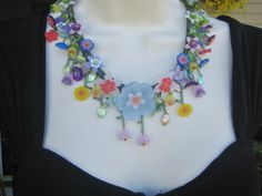 FLOWERS Vintage Garden Mix Lucite Beadwork by purplesage333, $59.00