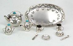 Native American Indian Jewelry; Navajo Sterling Silver Miniature Tea  Set