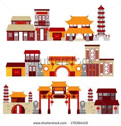 chinatown - stock vector