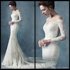 2015 Off The Shoulder Pretty Sexy Mermaid Wedding Dresses With Sheer Lace Appliques Long Sleeves Vintage Backless Bridal Wedding Gowns, $155.19 | DHgate.com
