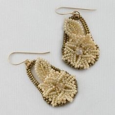 Bead Woven Lace Earrings Tutorial Dainty Dianthus by JewelryTales