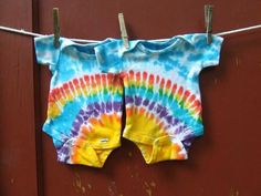 These are so sweet!     Tie Dye Baby Onesies - Twin Set of 2 - Rainbow Sunshin - Made to Order | twirlytoes - Clothing on ArtFire