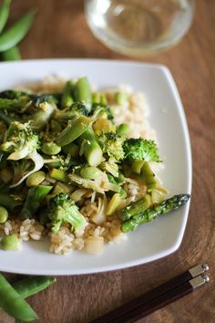 Spring Green Vegetable Stir Fry with Lemon-Ginger Sauce | theroastedroot.net #vegetarian #spring