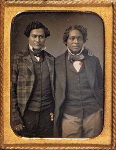 "WILLIAM A. PRATT (RICHMOND, VA, ACTIVE 1844-1856)  ""Freemen of Color""  Quarter-plate daguerreotype, hand-colored. Circa 1850."