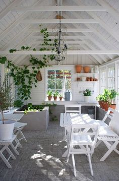 Light-filled all-white sunroom with terracotta and greenery throughout.