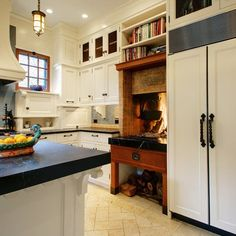 Dream Detail: A Built-In Wood Fireplace Right In the Kitchen!