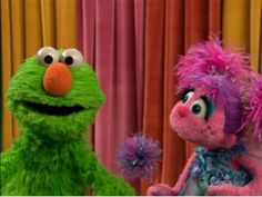 """Once Elmo wished he could be more green and help the Earth, and Abby turned Elmo green! It can be easy """"bein' green!"""" Happy Earth Day, everyone!"""