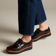 Teadale Maira Aubergine- Official Site of Clarks® Shoes Ladies Brogues, Brogues Womens, Leather Socks, Leather And Lace, Black Brogues, Size 10 Women, Doc Martens Oxfords, Clarks, Fashion Shoes