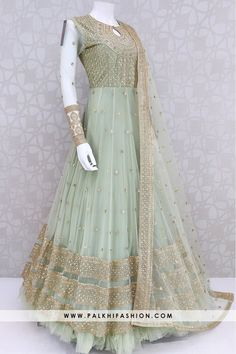 Palkhi fashion light pista designer gown fabricated with exclusive net fabric.Inspired by latest trends and fairyembroidery by sequinscutdana and stone Party Wear Indian Dresses, Pakistani Fashion Party Wear, Indian Fashion Dresses, Indian Bridal Outfits, Indian Gowns Dresses, Pakistani Bridal Dresses, Dress Indian Style, Indian Designer Outfits, Latest Wedding Dresses Indian