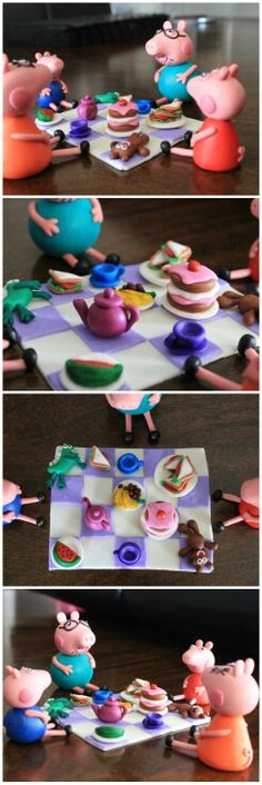 Peppa Pig cake topper. Peppa Pig family picnic. Made with homemade marshmallow fondant