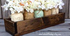 Rustic Planter Box with Painted Mason Jars. Centerpiece. Tropical Green. Cream. Tan Mason Jars. Dinning Table. Painted Mason Jars. Rustic | Planter Boxes, Plan…