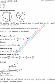 Formule matematica gimnaziu 5 8 Formule si teorie Geometrie plana si in spatiu si Trigonometrie pagina 11 Desktop, Chart, Map, Geometry, Desk, Maps