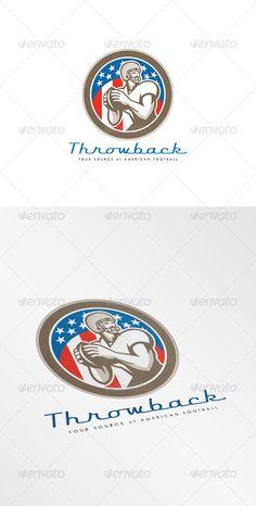 Buy Throwback American Football Logo by patrimonio on GraphicRiver. Logo showing illustration of an american football gridiron quarterback player throw. American Football Memes, Circle Logo Design, Football Design, Branding, Super Sport, Sports Logo, Business Card Logo, Logo Design Inspiration, Logo Templates