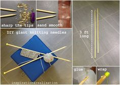How to make giant (US size 50) knitting needles.