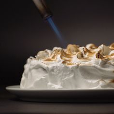 A moist, fluffy chocolate cake topped with sweet, fluffy toasted meringue is an ideal dessert.