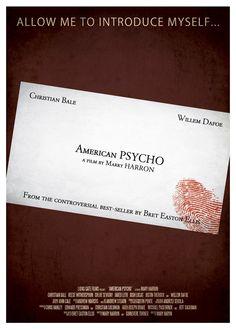 American Psycho ~ Minimal Movie Poster by Ryan Black Minimal Movie Posters, Horror Movie Posters, Cinema Posters, Movie Poster Art, Cool Posters, Film Posters, Horror Movies, Psychological Thriller Movies, American Psycho
