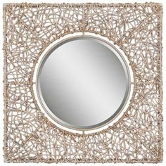 "Uttermost Natural Rattan 40 1/2"" High Square Wall Mirror"