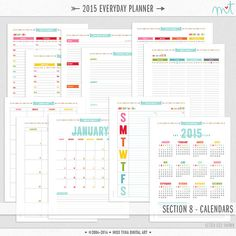 2015 S8 Calendars Printable PDF Planner Pages - All 4 Sizes - instant download