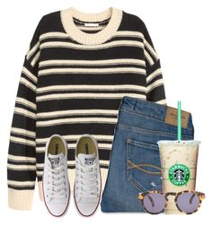 """""""Stripes:)"""" by flroasburn ❤ liked on Polyvore featuring H&M, Abercrombie & Fitch, Converse and Illesteva"""