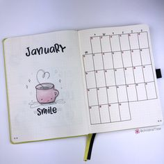 Plan With Me: My January 2019 Setup in my Bullet Journal — Square Lime Designs Month at a Glance - Bullet Journal Plan with Me - January 2019 Bullet Journal Vidéo, February Bullet Journal, Bullet Journal Cover Page, Bullet Journal Ideas Pages, Bullet Journal Layout, Journal Covers, Bullet Journal Inspiration, Bullet Journal Year At A Glance, The Plan