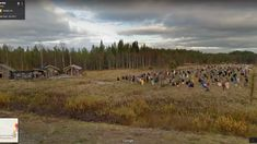 """These creepy scarecrows 1000 scarecrows stand in a field in Finland. They're called """"The Silent People,"""" and they're the work of artist Reijo Kela. Screen Shot, Finland, Creepy, Horror, Country Roads, Street View, Google, Artist, Image"""