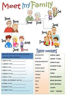 Teaching Vocabulary, Teaching Jobs, English Vocabulary, English Primary School, Teaching English, Learn English, Family Tree Worksheet, Family Tree For Kids, Classroom Routines