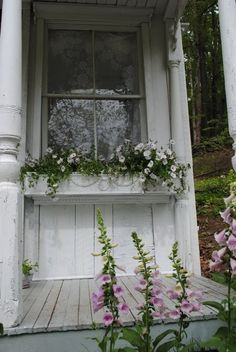 I forgot that I have two windows opening onto my porch - I would love to put some window boxes there but they would have to hold something that took a lot of shade I guess. Maybe some impatiens. Cozy Cottage, Shabby Cottage, Cottage Style, Cottage Porch, Romantic Cottage, Cottage Homes, Shabby Chic Veranda, Shabby Chic Porch, Shabby Bedroom