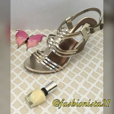 NWT Simply Vera Vera Wang Thyme Gold Wedges 8m Kohls wedges. Thyme gold color.  Brand new.  Tags on shoes.  Slight indent on shoe see pic. Originally $69.99 plus tax very cute adjustable strappy shoes. 8m Simply Vera Vera Wang Shoes Wedges