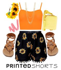 """Sunflower Printed Shorts"" by xyrasthatgirl ❤ liked on Polyvore featuring Breckelle's, WearAll, IMoshion, Gorjana and printedshorts"