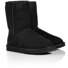 UGG AUSTRALIA Black Classic Short Boots ($260) ❤ liked on Polyvore featuring shoes, boots, ankle booties, uggs, chaussures, 20. boots., ankle boots, black leather boots, black booties and short boots