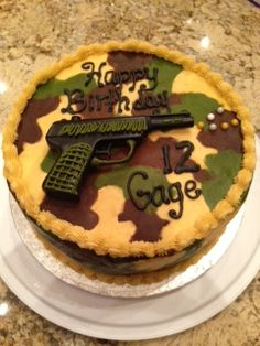 Gage's Camo Airsoft Gun Cake