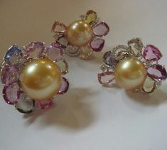 @anna_shia. #Golden South Sea Pearl  Fance color sapphire diamond Ring and earring#golden#goldenpearl#sapphire#pearls #diamond #rings #earrings#luxury #luxuryjewelry#jeweleryfashion