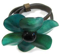 Marni Green Resin Flower Leather 'Belt' Bracelet