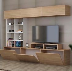 New living room white tv stand shelves 48 Ideas Living Room Wall Units, Living Room Tv Unit Designs, Living Room White, White Rooms, Living Room Decor, White Bedroom, Tv Unit Decor, Tv Wall Decor, Diy Wall
