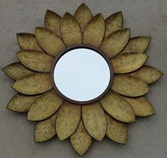 Admittedly the right piece of sunflower home decoration can really give a room a fantastic focal point.  Essentially your friends and family will immediately notice these cute, adorable and bold sunflower home decor accents. As these will make your home feel warm and inviting perfect for the #Fall season. #falldecor #sunflower CHSGJY Sunflower Mirror Wall Hanging Handcrafted Metal Art Decor 24 inches Sun Flower Home Bathroom Indoor Living Decor