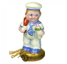 Baby Boy Sailor with Baby Bottle Limoges Box (Retired)