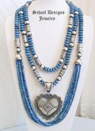 Schaef Designs denim lapis layering necklaces with Vince Platero Heart Pendant | New Mexico
