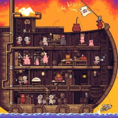 inside the ship, pigs, pixel art, animation 8 Bits, Game Design, Animation Pixel, Nail Bat, Game Art, Illustrations, Illustration Art, Anim Gif, Pixel Art Games