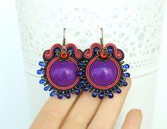 Purple soutache earrings with howlite stones Round purple by pUkke