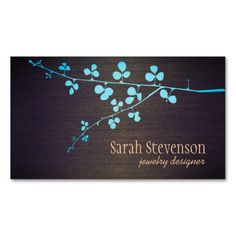 Turquoise Branch Wood Grain Stylish Designer Double-Sided Standard Business Cards (Pack Of 100)