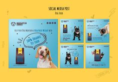Organic pet food on social media Free Ps. Social Media Design, Pet Grooming, Company Names, Pet Shop, Dog Food Recipes, Your Dog, Web Design, Layout, Posts