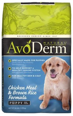 Breeder's Choice AvoDerm Natural Puppy Chicken Meal and Brown Rice Dog Food 26 lb Dog Food Recipes, Chicken Recipes, Best Puppy Food, Lactating Mother, Dog Bones, Rawhide Bones, Natural Dog Treats, Best Puppies